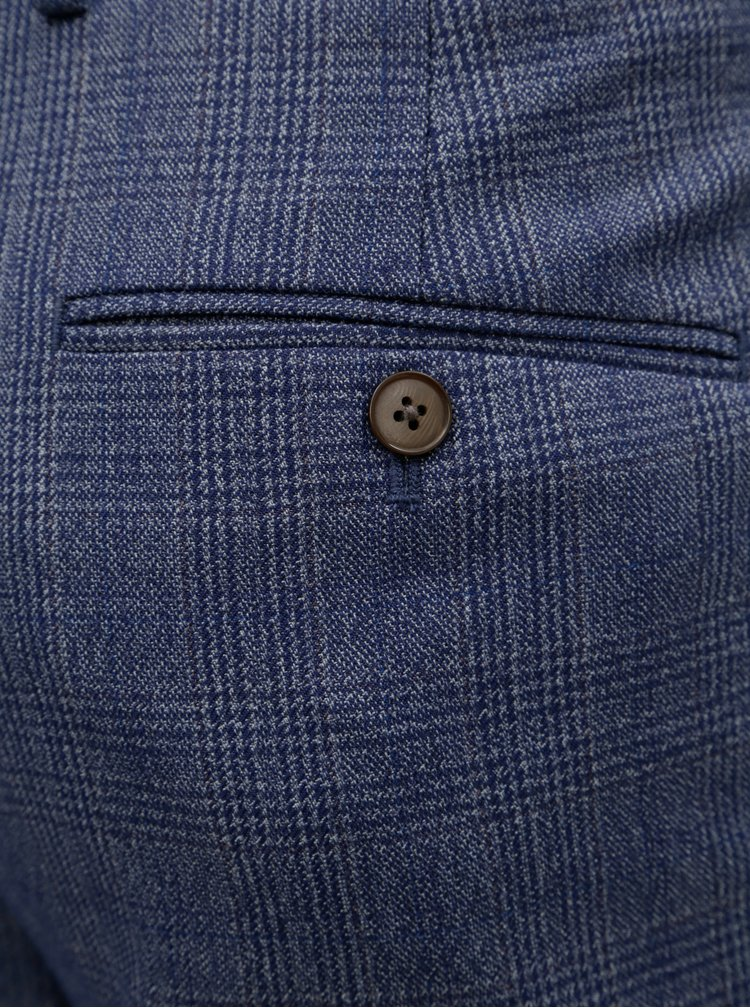 Modré kárované slim fit nohavice s pukmi Burton Menswear London