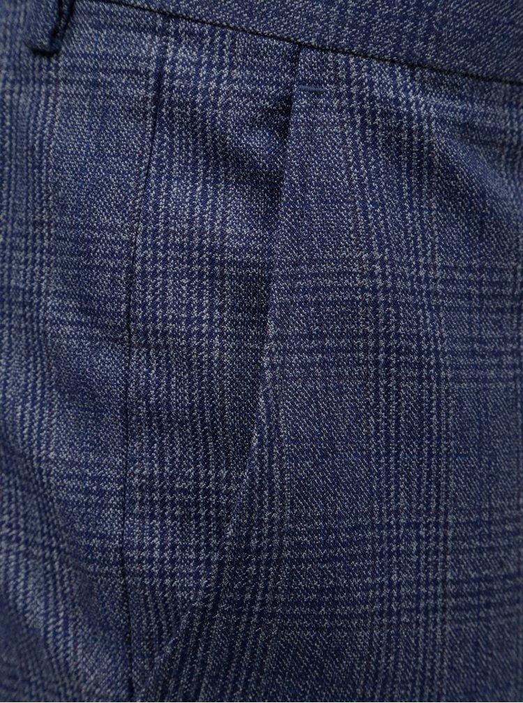 Modré kostkované slim fit kalhoty s puky Burton Menswear London