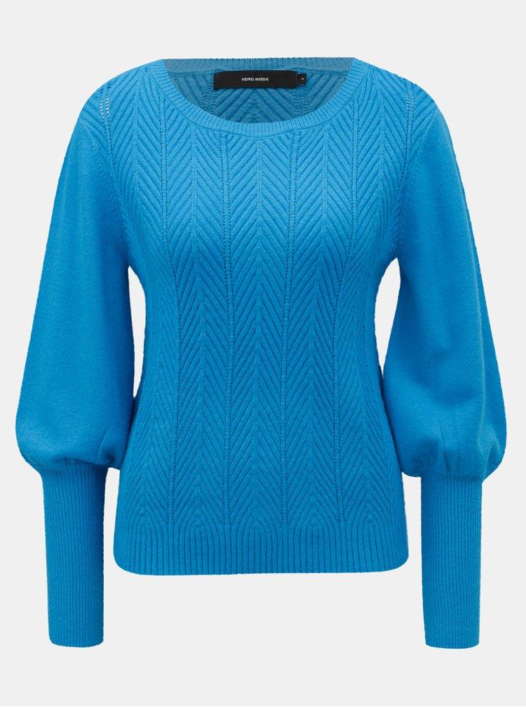 Modrý vzorovaný svetr VERO MODA Diva