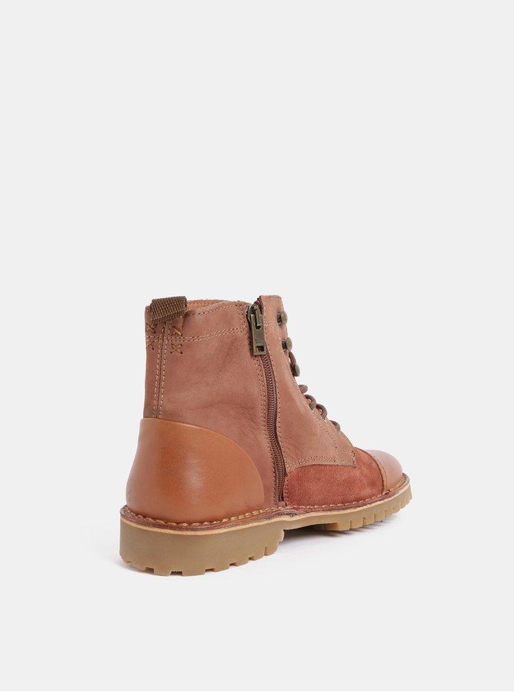 Hnědé pánské kožené kotníkové boty Selected Homme