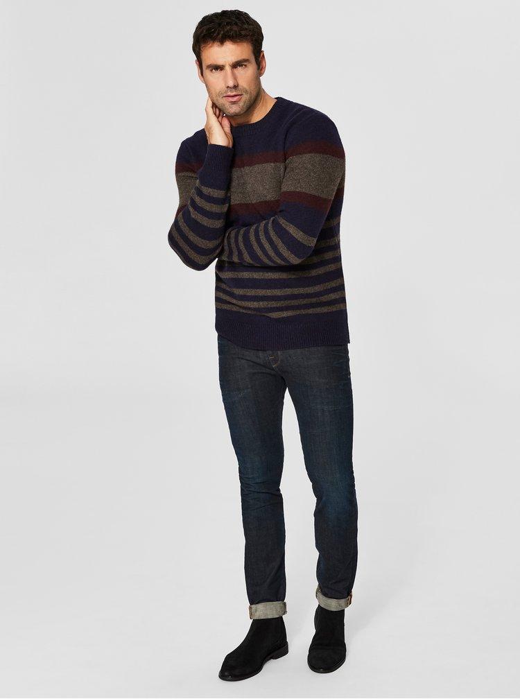 Hnedo–modrý vlnený sveter Selected Homme