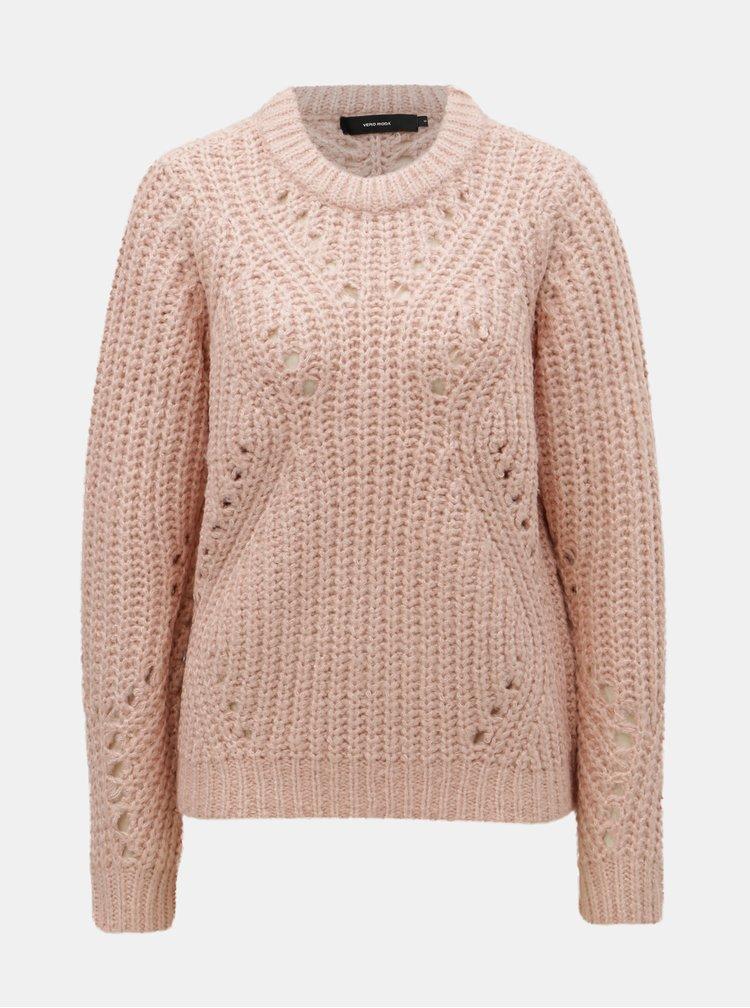 Svetloružový sveter so širokými okami VERO MODA Pica