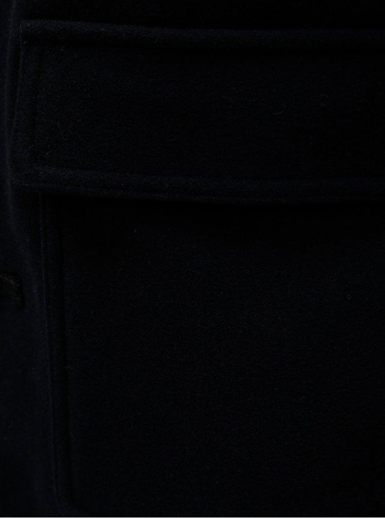 Tmavě modrý kabát s kapucí a příměsí vlny Selected Homme