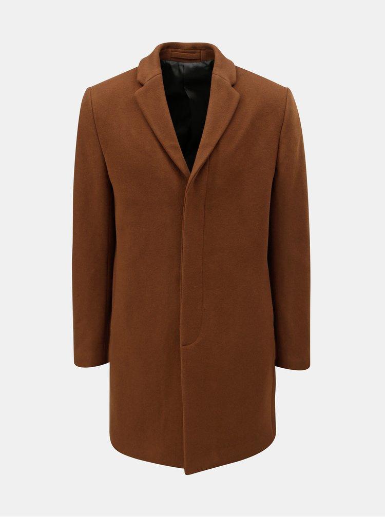 Hnědý vlněný kabát Selected Homme