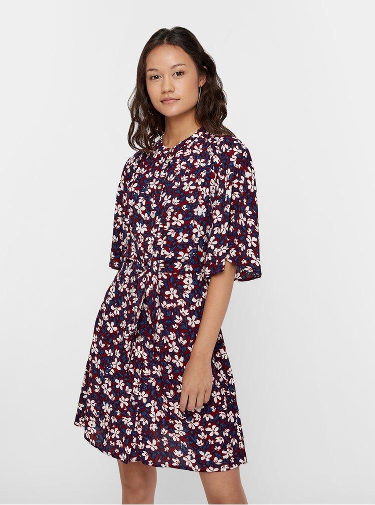 Vínové áčkové kvetované šaty VERO MODA Billia