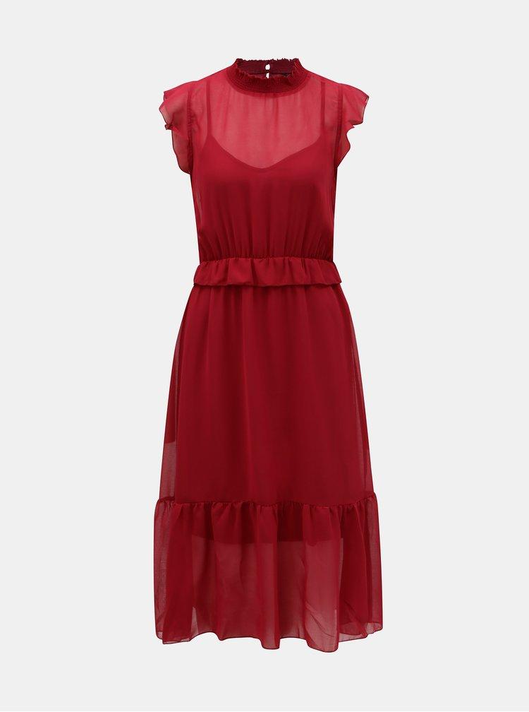 Vínové šaty s volány VERO MODA Becca