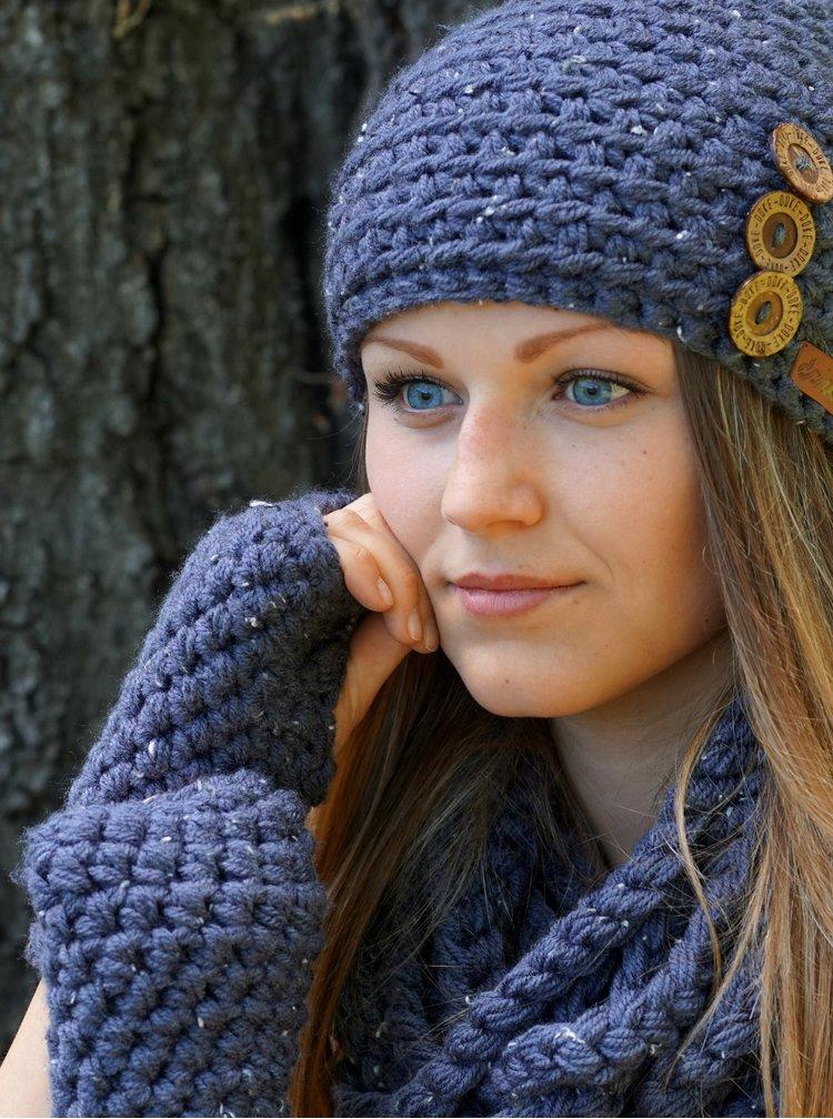 Tmavě modrá dámská pletená šála DOKE