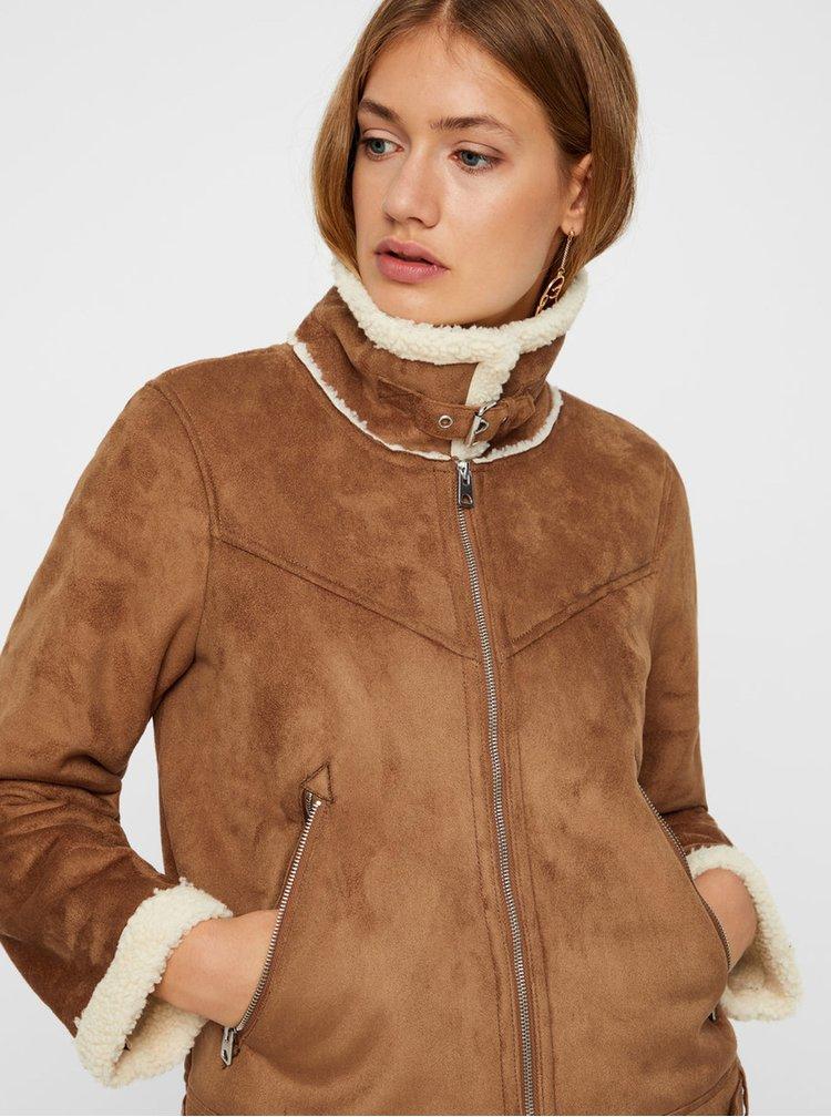 Hnědá bunda v semišové úpravě s umělým kožíškem VERO MODA Anais