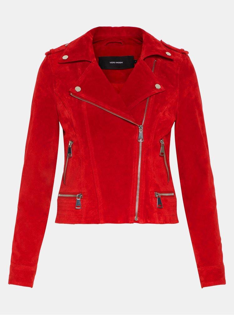 Jacheta biker rosie din piele intoarsa VERO MODA Royce