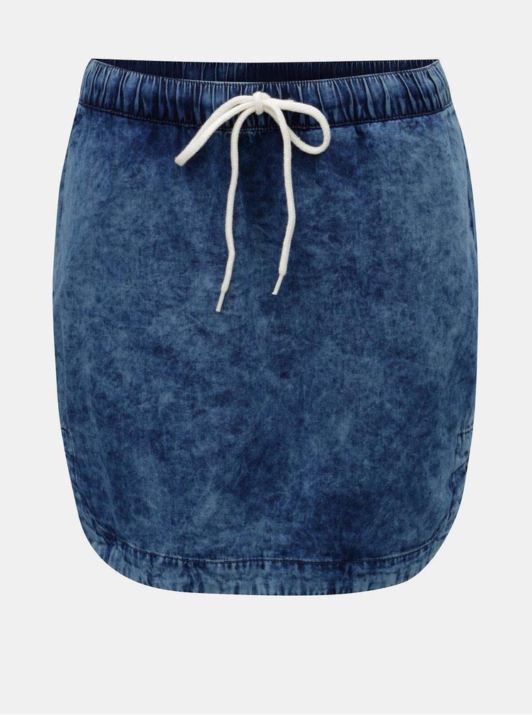 Tmavě modrá džínová sukně s vyšisovaným efektem QS by s.Oliver