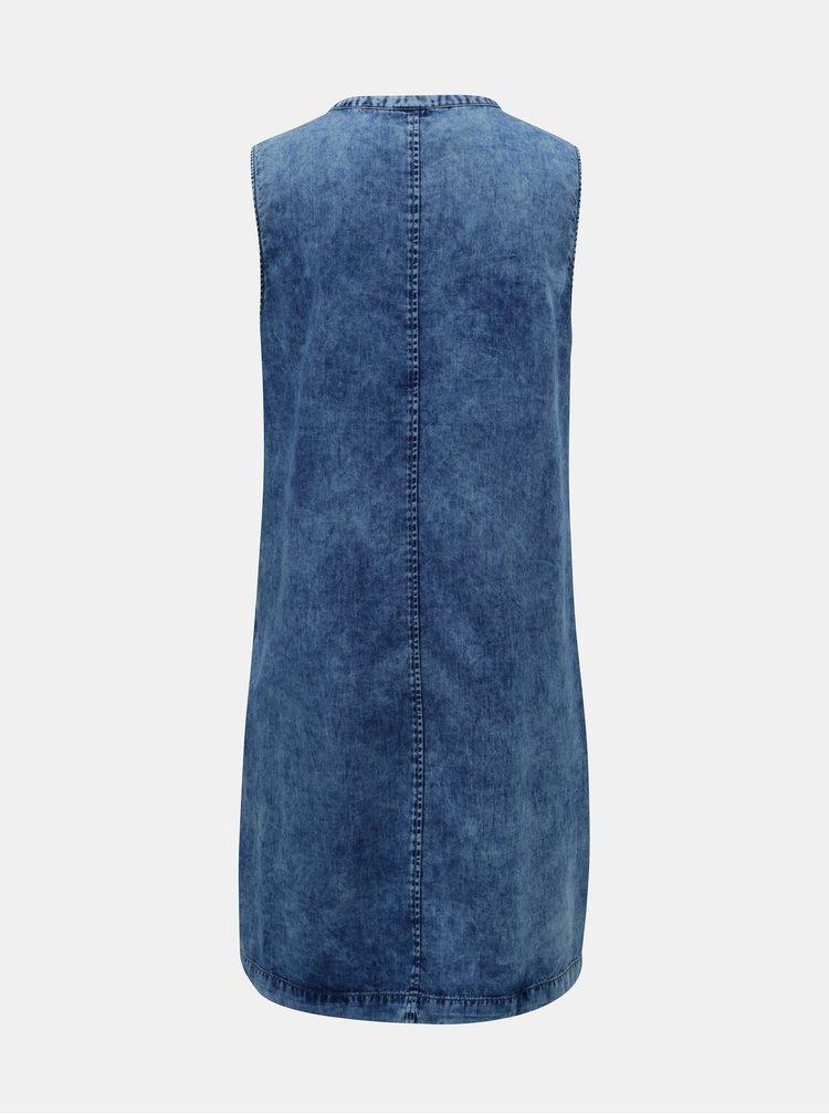 Modré džínové šaty s vyšisovaným efektem QS by s.Oliver