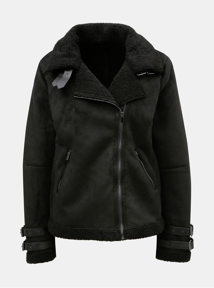 Jacheta neagra cu aspect de piele intoarsa VILA Black