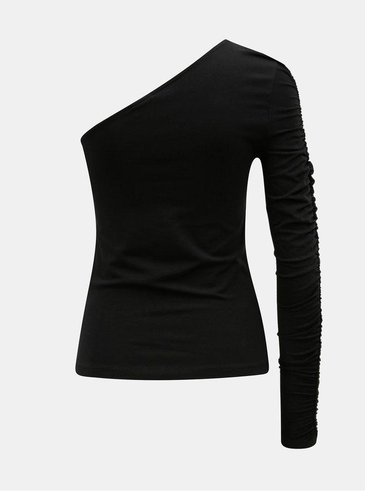 Černé tričko s jedním řaseným rukávem Noisy May Laila