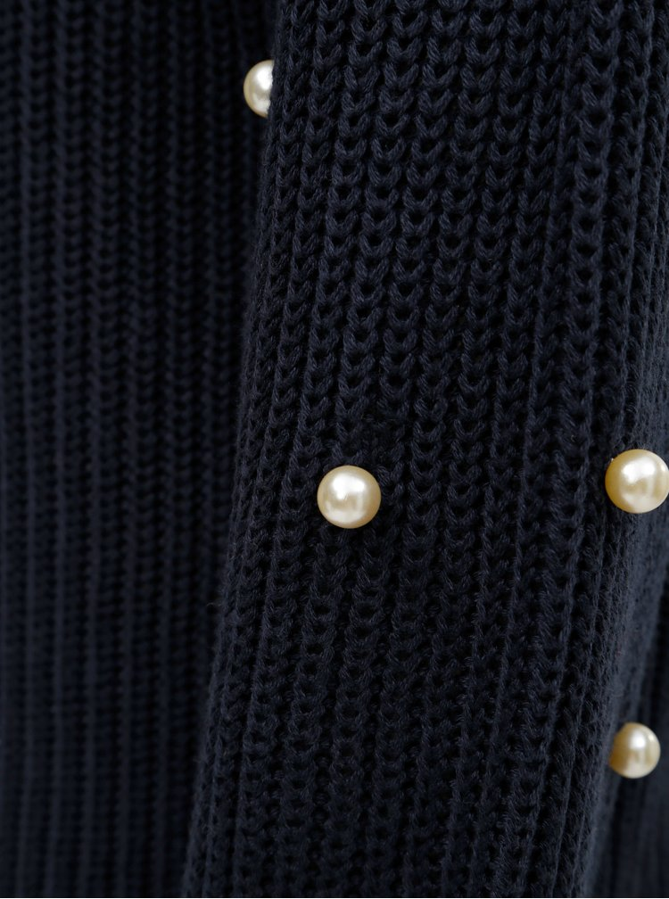 Tmavě modrý svetr s korálkovou aplikací na rukávech ONLY Mella