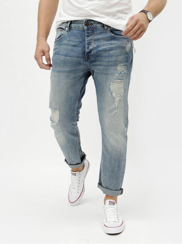 Modré regular zkrácené džíny s potrhaným efektem ONLY & SONS Weft