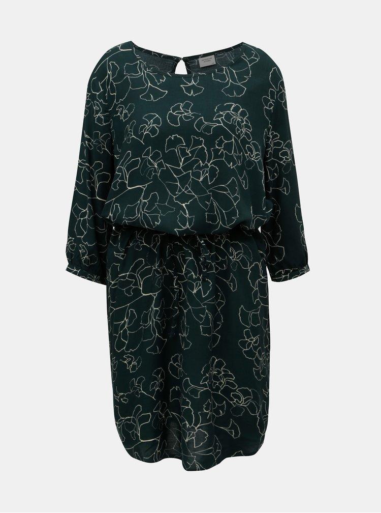 Zelené vzorované šaty s páskem Jacqueline de Yong King