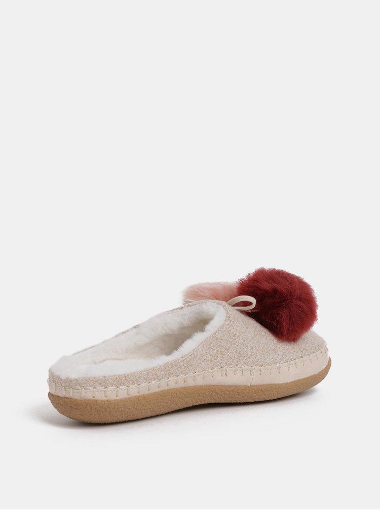 Růžové dámské papuče s bambulemi TOMS Ivy