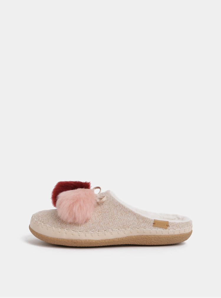 Papuci de dama roz cu pom pom TOMS Ivy