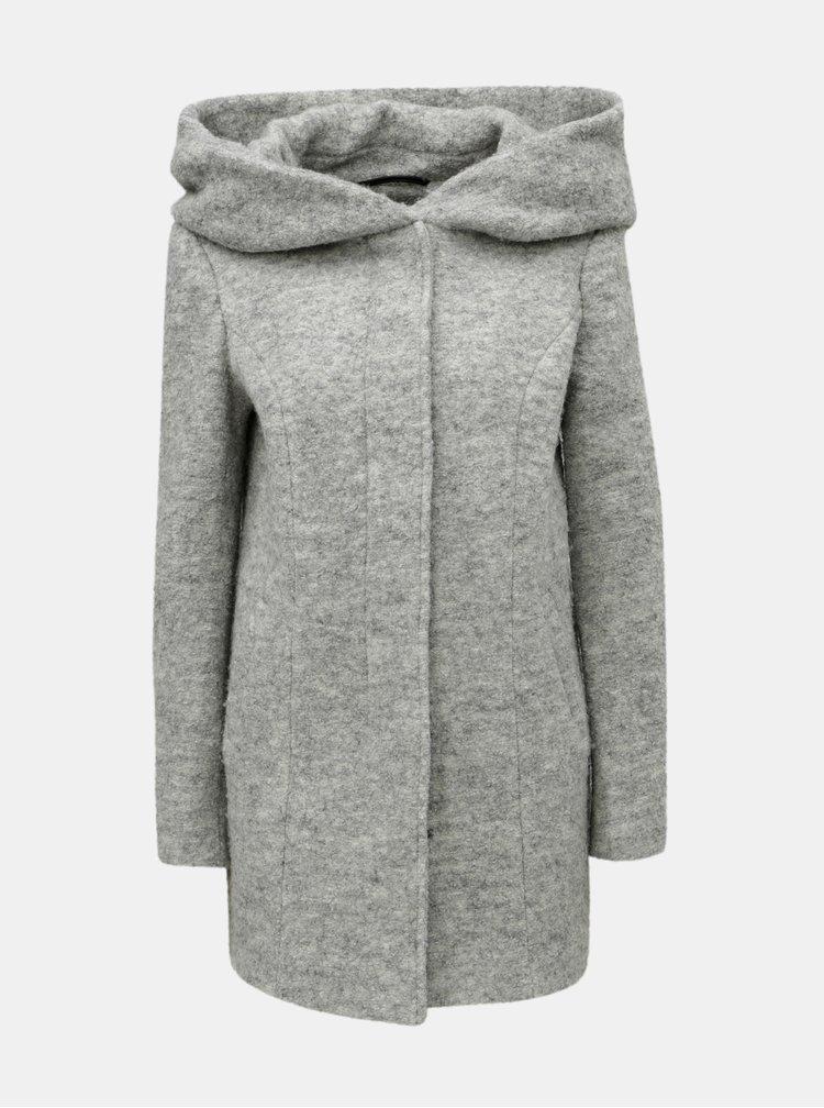 Šedý žíhaný kabát s příměsí vlny VERO MODA Verodona