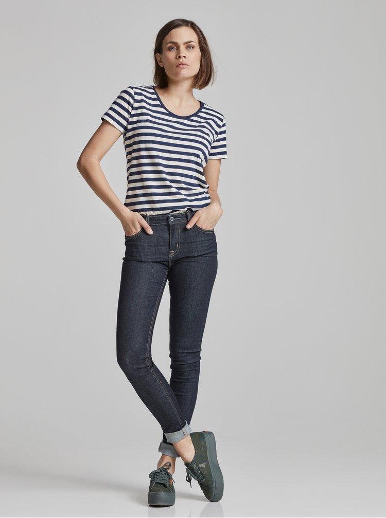 Krémovo–modré dámske pruhované basic tričko s krátkym rukávom Makia Verkstad