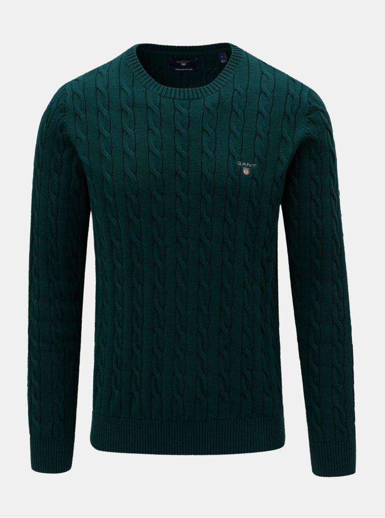 Tmavě zelený pánský svetr s výšivkou GANT