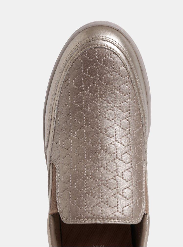 Pantofi slip on de dama aurii din piele Geox Tahina