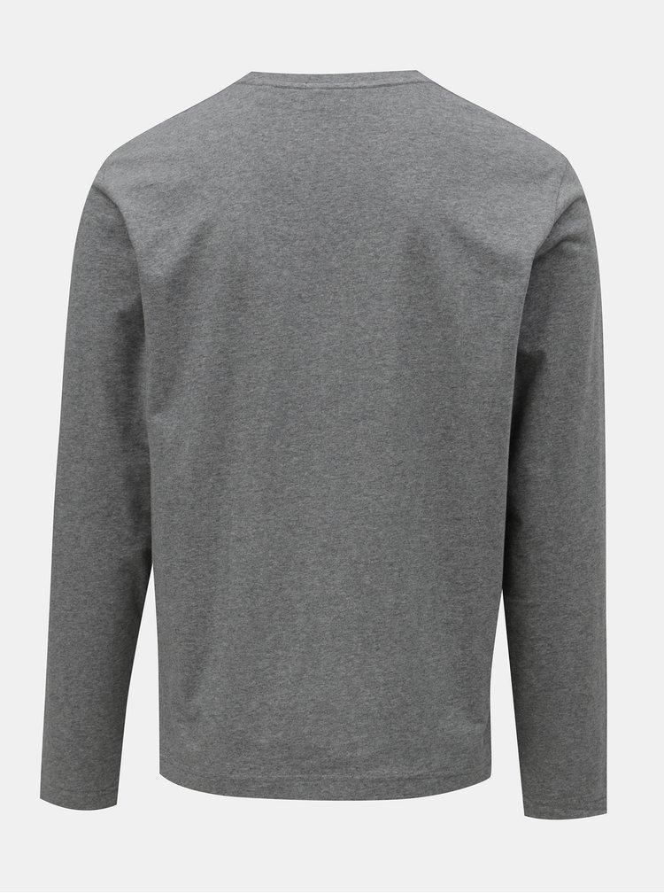 Šedé pánské žíhané tričko s dlouhým rukávem a s výšivkou GANT