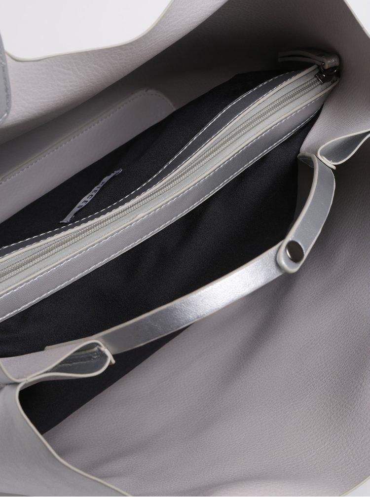 Metalický shopper ve stříbrné barvě s pouzdrem 2v1 Pieces Madison