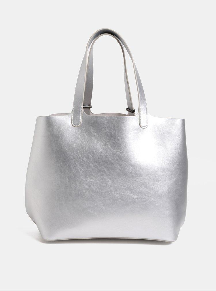 Metalický shopper s pouzdrem 2v1 ve stříbrné barvě Pieces Madison