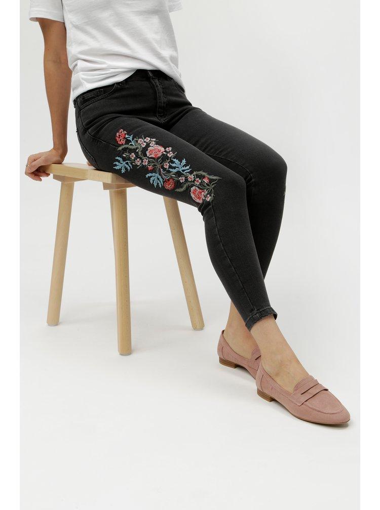 Tmavě šedé skinny džíny s výšivkami Miss Selfridge Petites