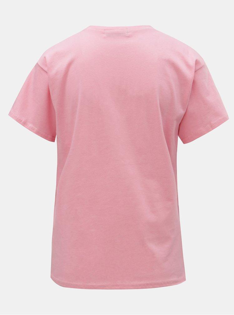 Tricou roz cu imprimeu ELVI