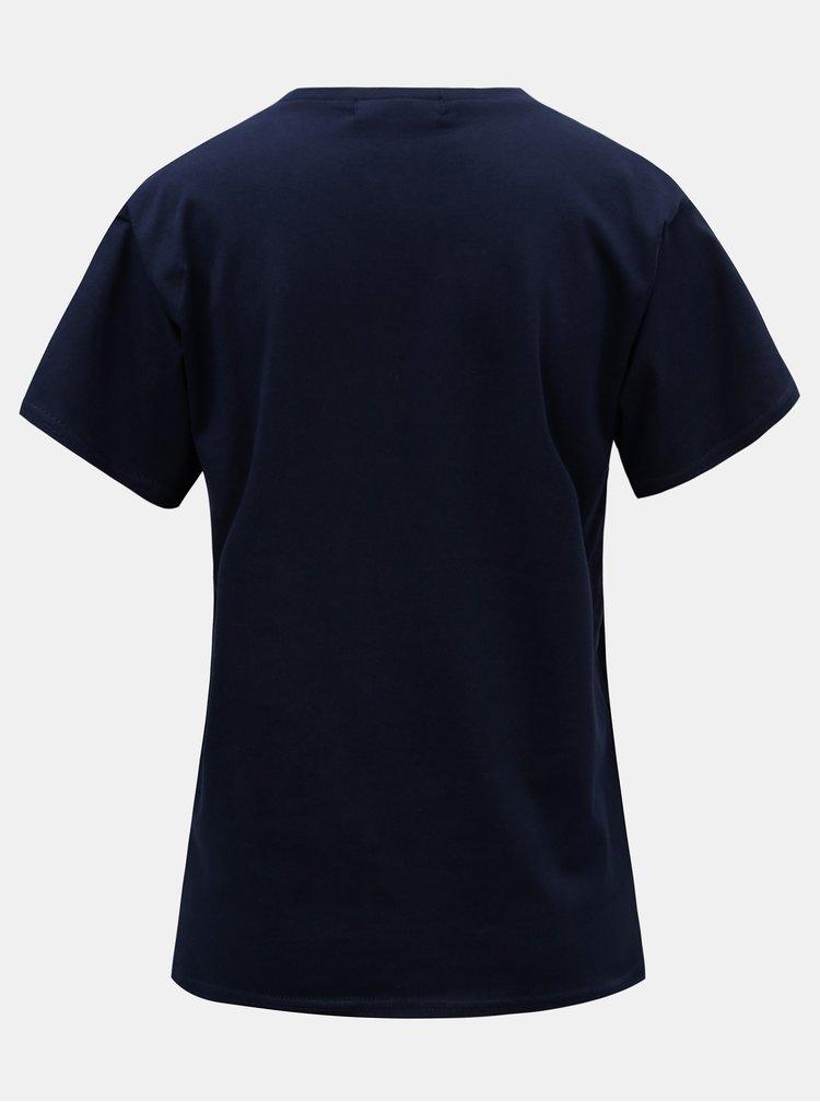 Tricou albastru inchis cu imprimeu ELVI