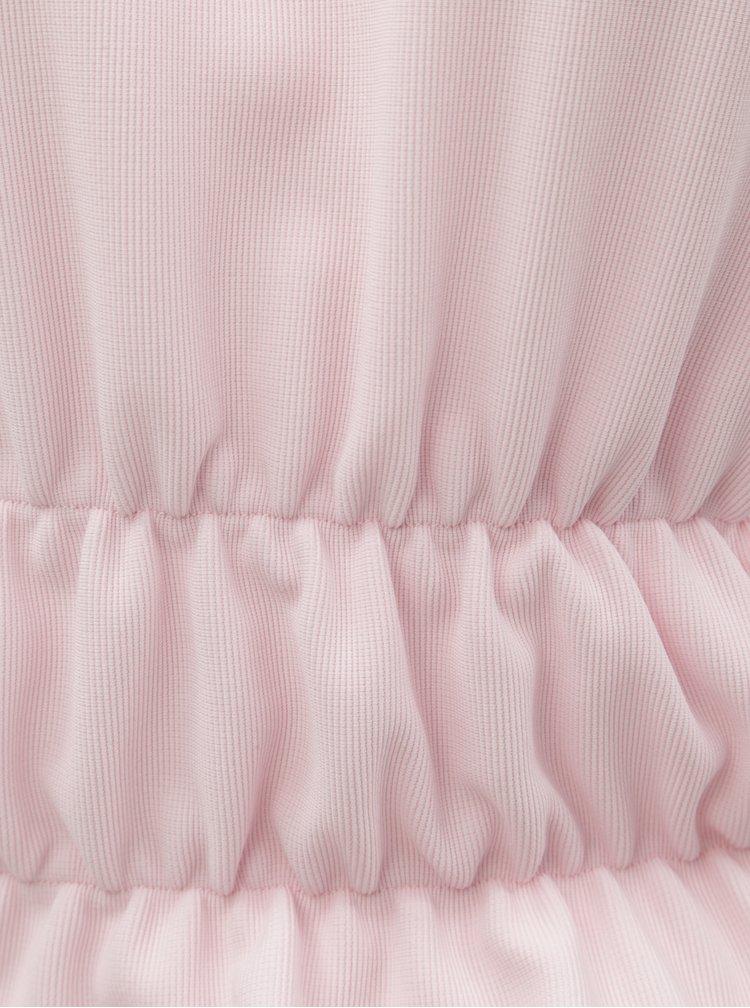Růžové žebrovaný crop top s dlouhým rukávem ELVI