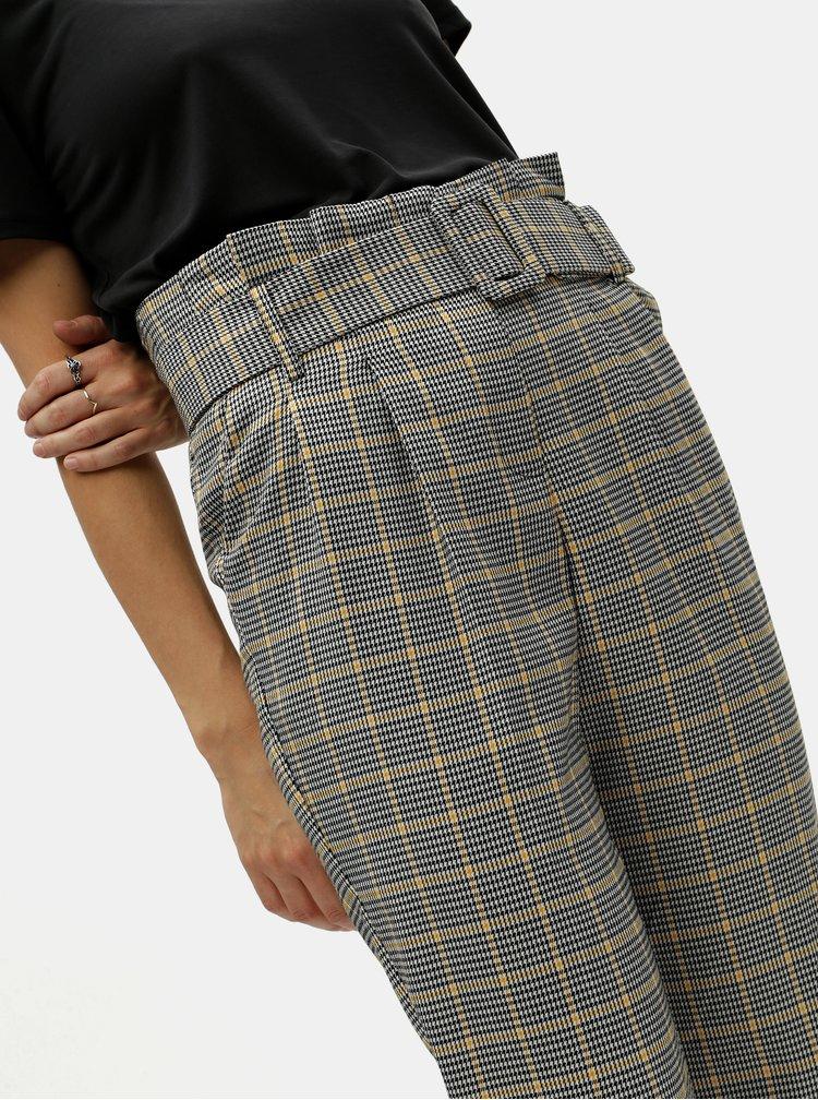 Pantaloni gri in carouri cu talie inalta Miss Selfridge Petites