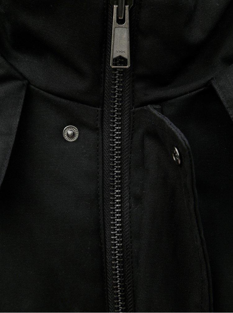 Geaca parka barbateasca neagra de iarna impermeabila cu gluga Makia Fishtail