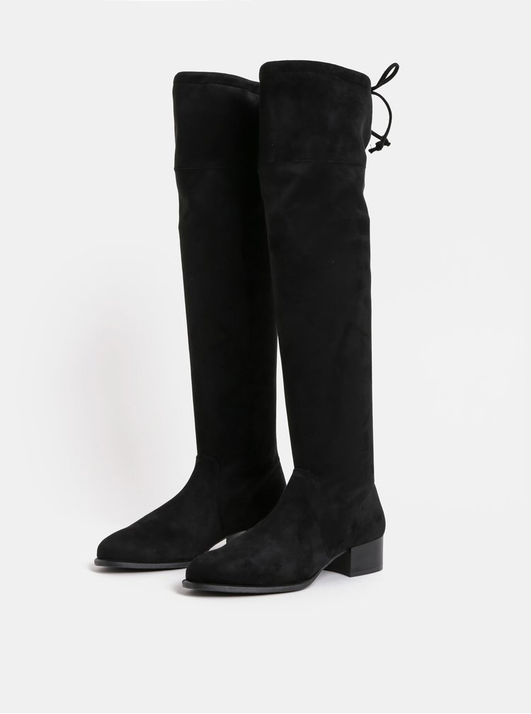 Černé kozačky na podpatku v semišové úpravě OJJU