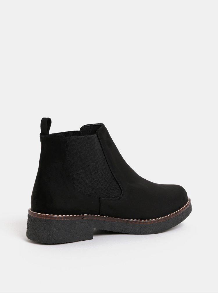 Čierne chelsea topánky v semišovej úprave OJJU
