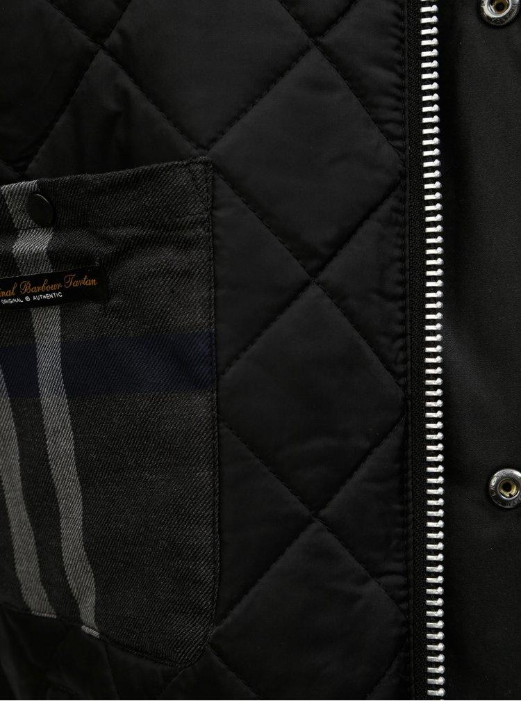 Geaca neagra de iarna cu detalii din material reiat Barbour Strathyre Wax