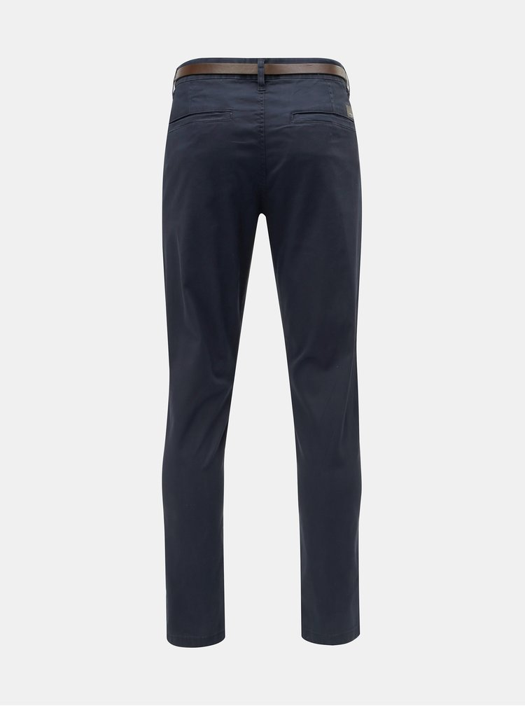 Tmavě modré slim fit chino kalhoty s páskem Lindbergh