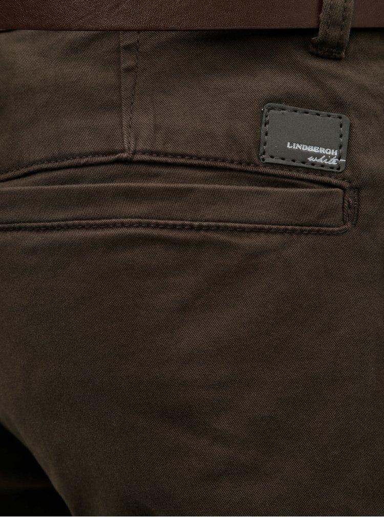 Pantaloni maro inchis chino slim fit cu cordon Lindbergh