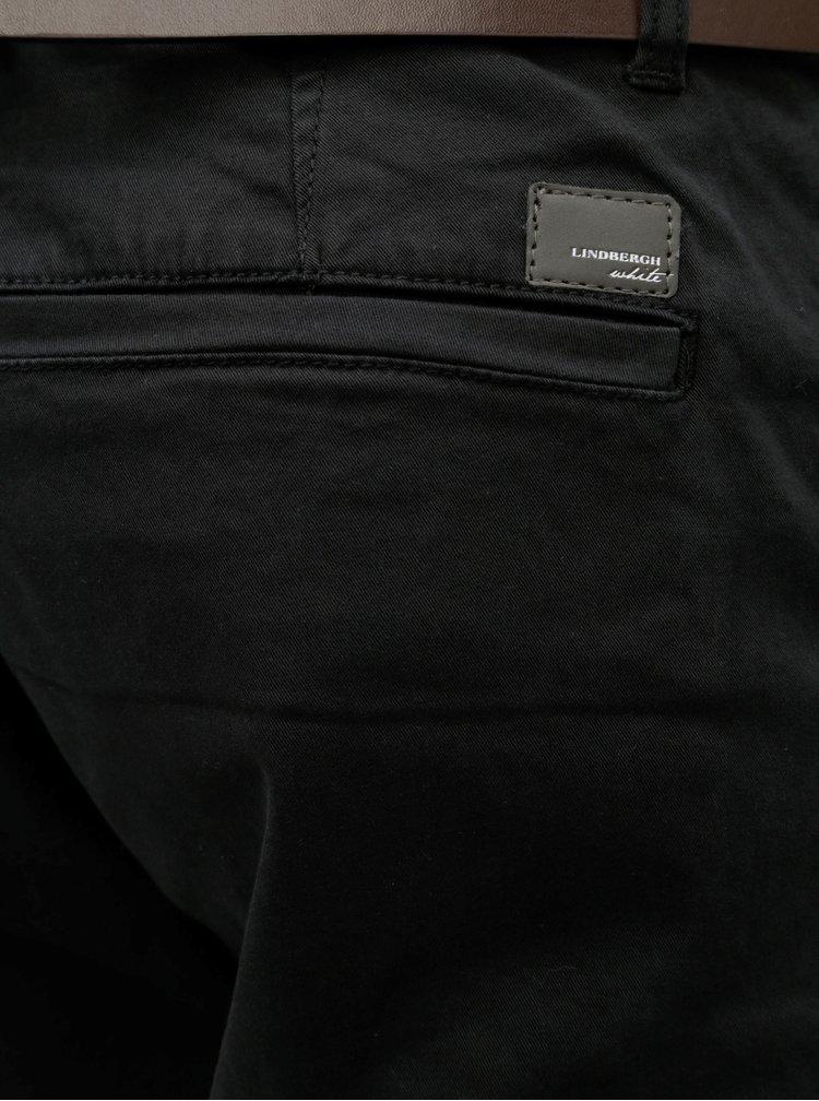 Čierne chino slim fit nohavice s opaskom Lindbergh