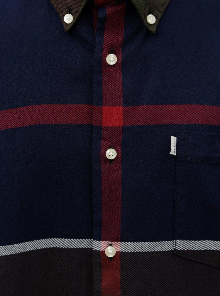 Modro-zelená vzorovaná košile s náprsní kapsou Barbour Dunoon