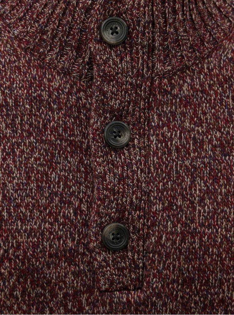 Pulover bordo melanj din lana Merino Fynch-Hatton