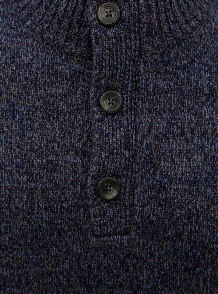Pulover albastru melanj din lana Merino Fynch-Hatton