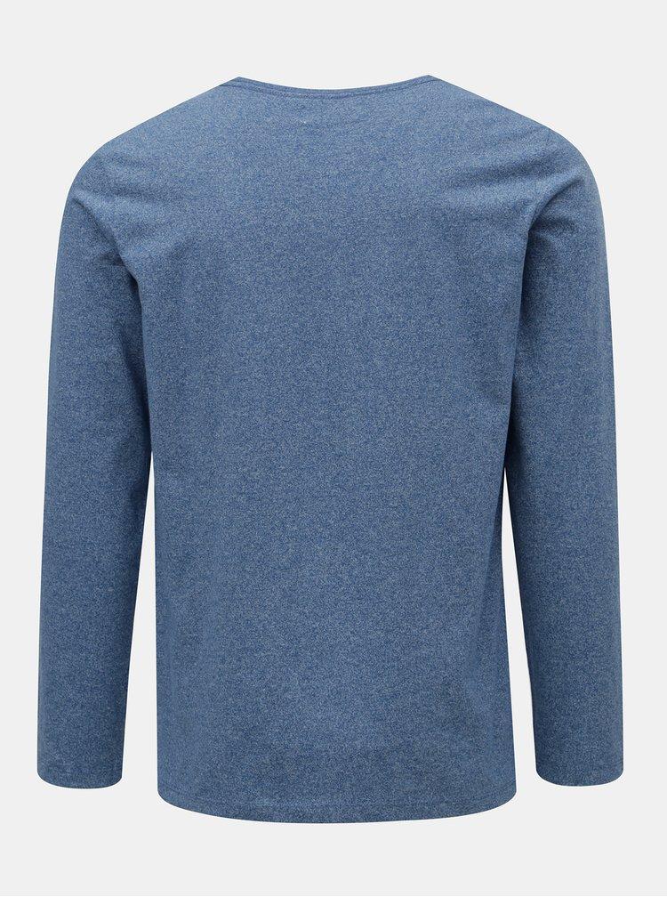 Tricou albastru melanj cu maneci lungi Lindbergh