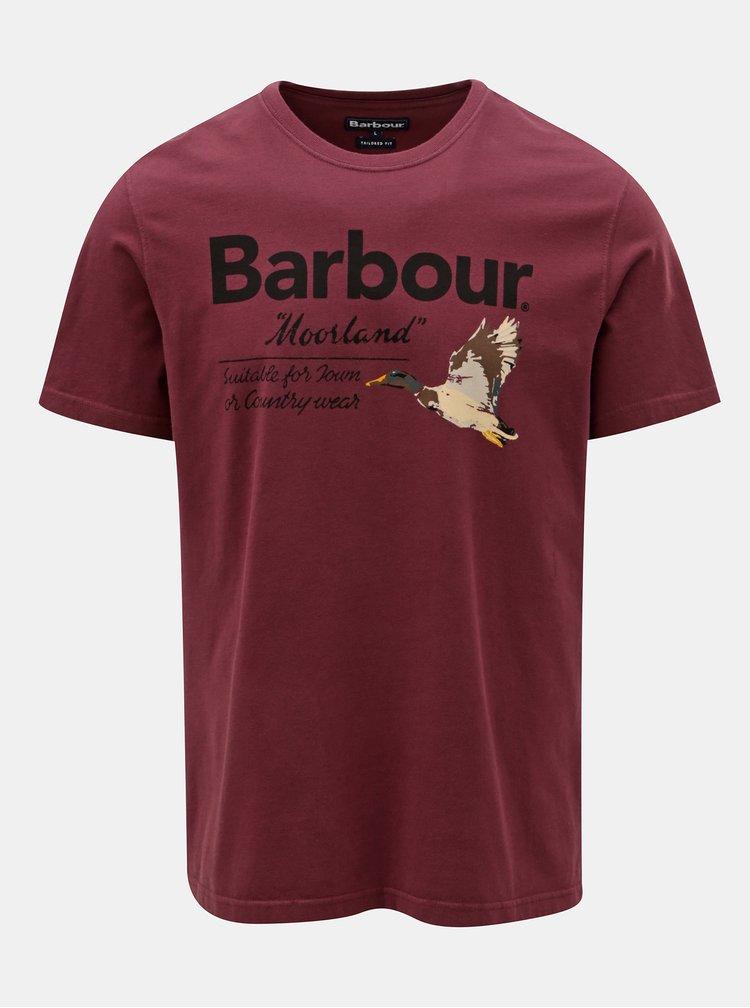 Fialové pánské tričko s potiskem Barbour Country