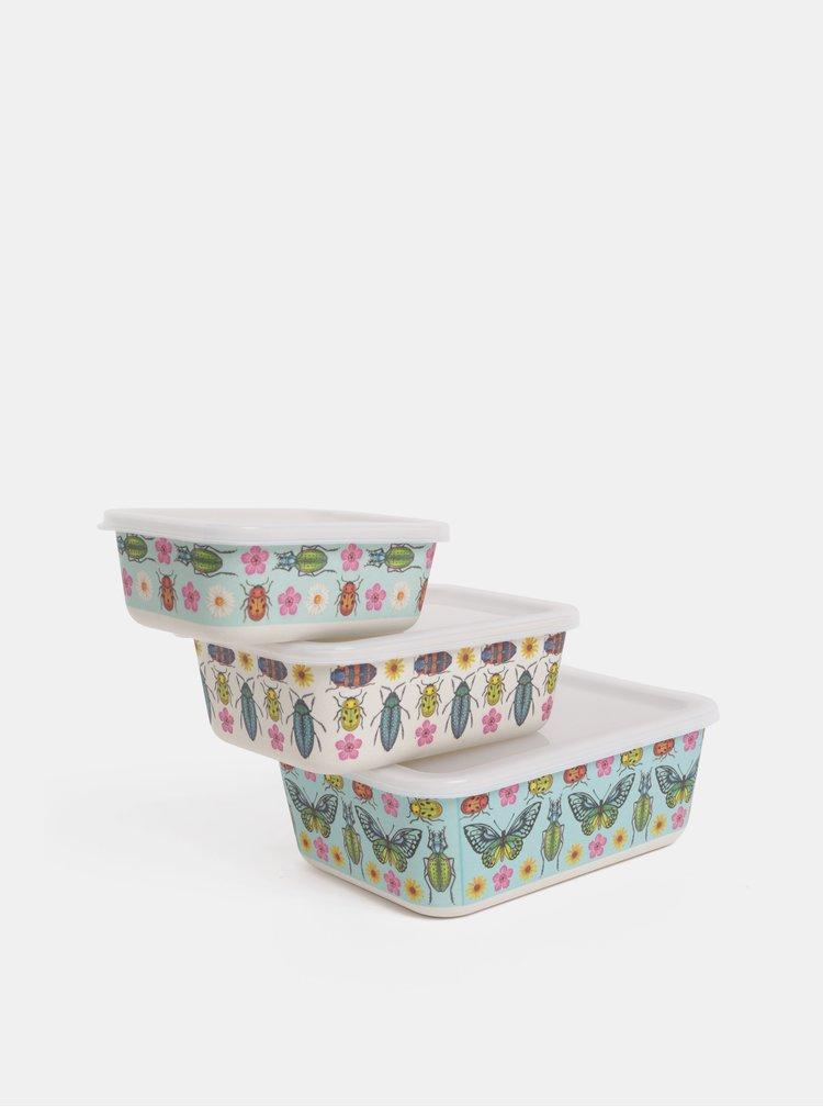 Set de 3 cutii pentru pranz crem-albastru Sass & Belle