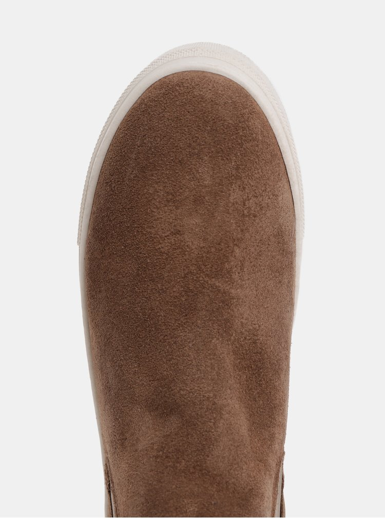 Hnedé dámske semišové chelsea topánky na platforme GANT Marie