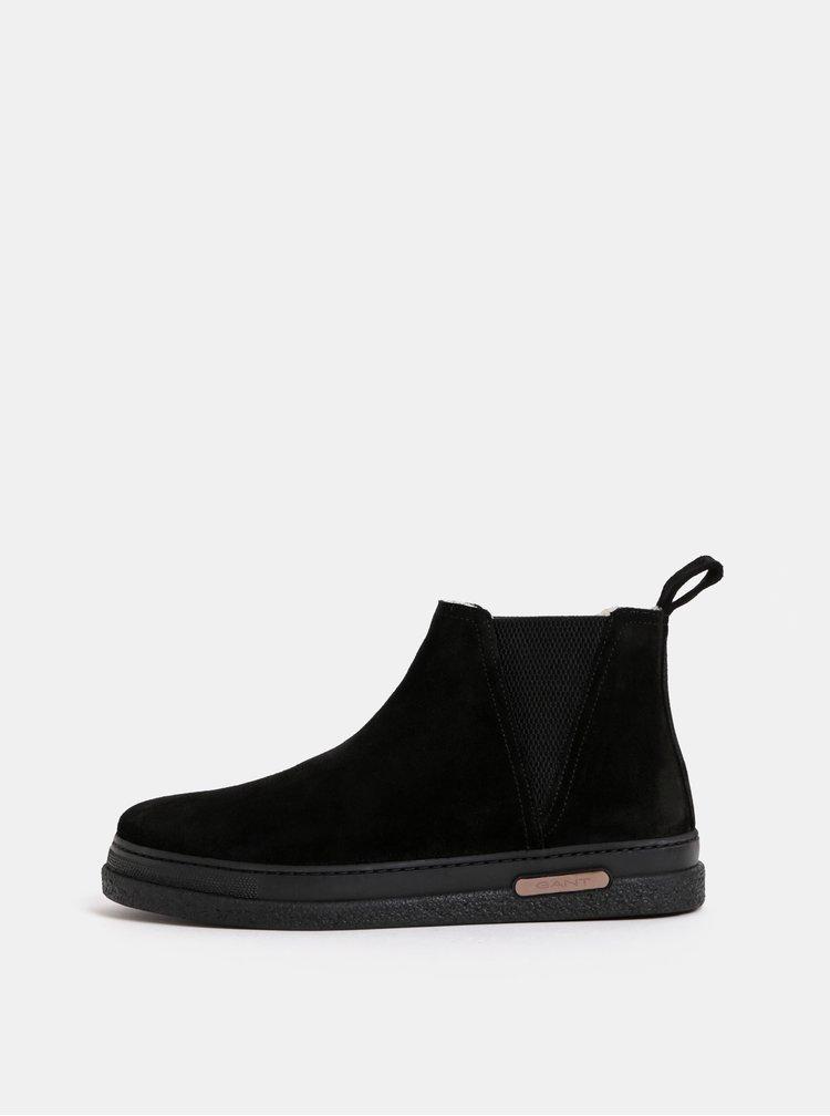 Černé pánské semišové zimní chelsea boty s vlněnou podšívkou GANT Josef