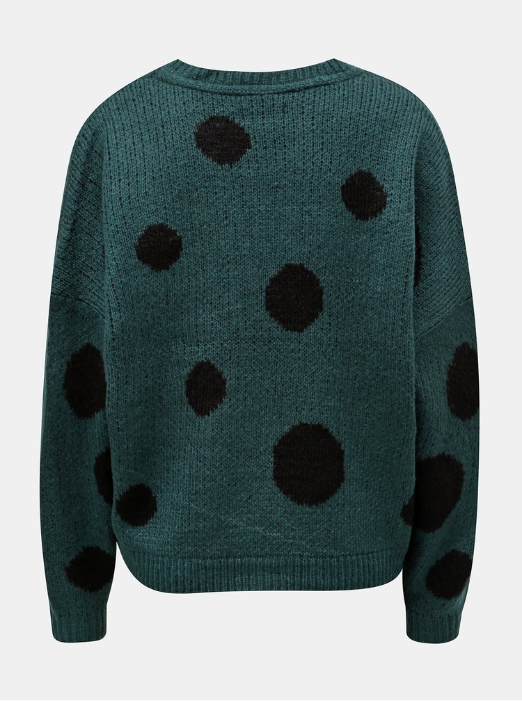 Pulover verde inchis cu buline ONLY Tiffany